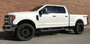 Outdoor photo of a white Ford 6.7 Powerstroke diesel pickup truck
